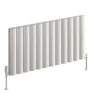 Stylish horizontal aluminium radiator reaching high output in white