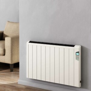 Floor standing or wall mounted electric radiator amde from aluminium from Reinas designer radiator collection