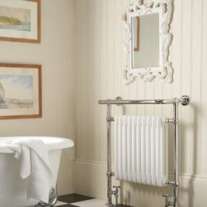 A traditional style column radiator with chrome rail for towel