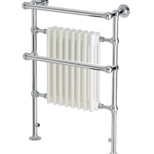 Apollo Ravenna TBJR Plus traditional towel radiator in brass with chrome finish