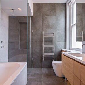 JIS Ashdown Towel radiator in stainless steel lifestyle