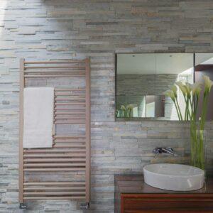 Bisque Deline vertical towel radiator Beige Quartz lifestyle