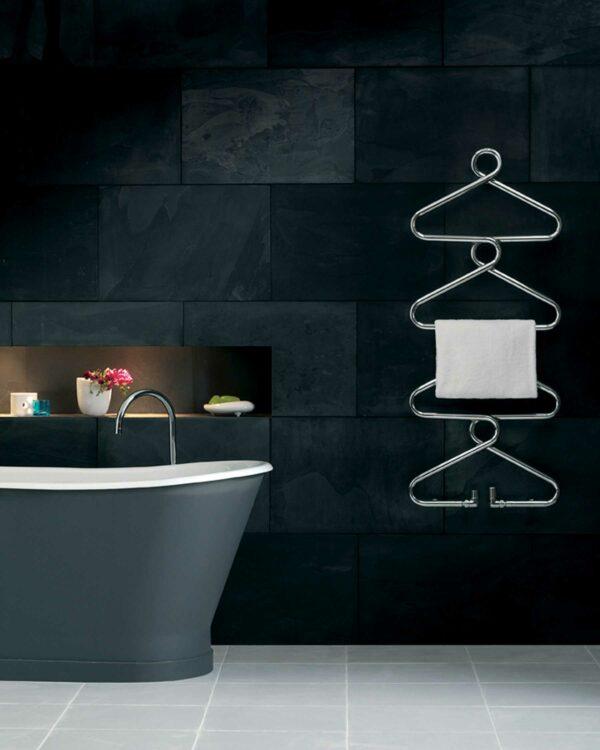 Quirky coat hanger style towel radiator from Bisques designer radiator range
