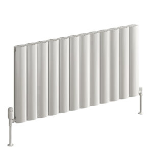 Stylish horizontal aluminium radiator reaching high output in white