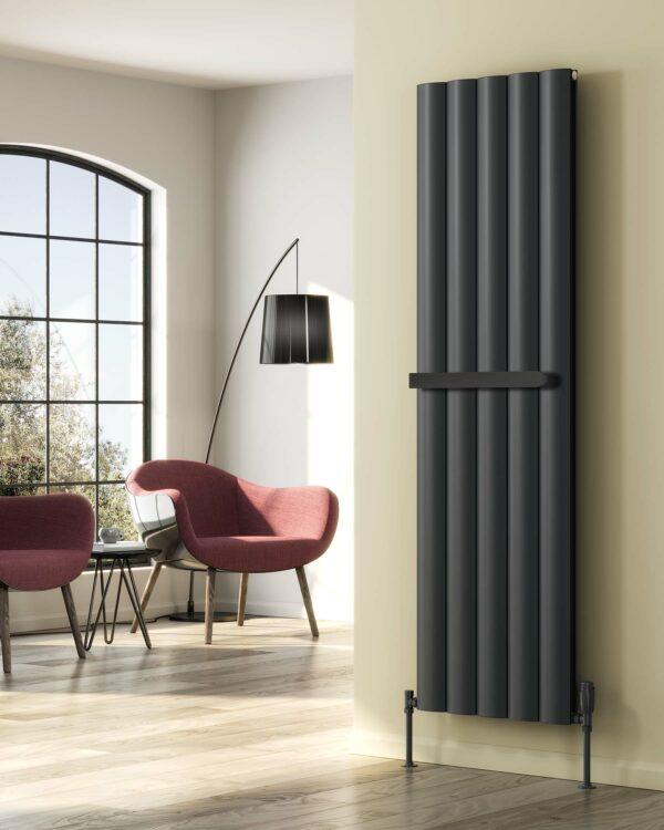 This Modern Sleek Vertical Radiator from the Reina Designer Range Shown in the Popular Anthracite Grey