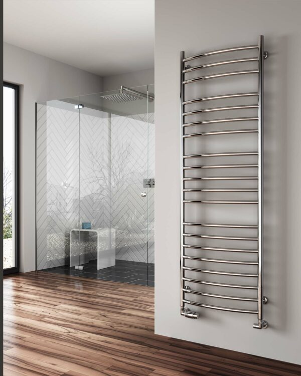 A classic towel radiator with added curved design from Reinas designer radiator collection