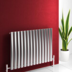 Sleek and modern stainless steel horizontal radiator double or single panel