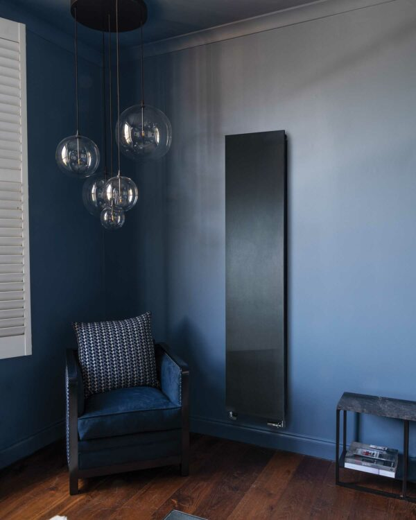 A unique black flat panel radiator from Bisques designer range
