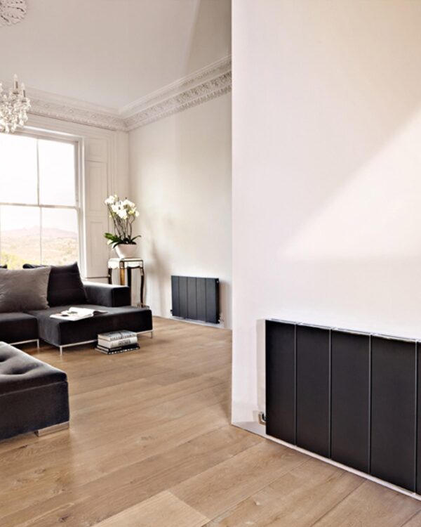 A modern flat panel designer radiator from Bisques designer collection