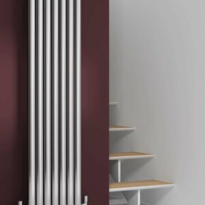 A modern Vertical Stainless Steel Radiator from Reinas Designer Collection