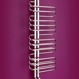 Part of Bisque's Designer towel radiator range is the funky orbit towel radiator