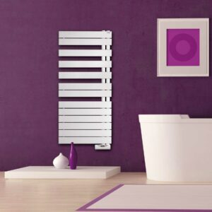 A quirky white electric towel radiator from Zehnders designer collection