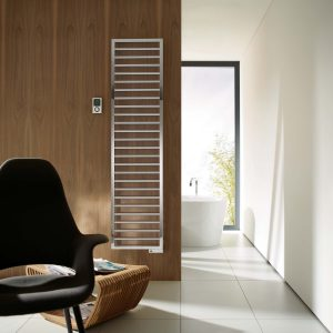 A designer chrome towel radiator in electric from Zehnders designer collection