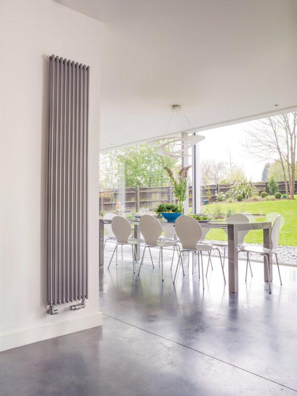 Bisque Trubi Vertical Modern Horizontal Designer Column Style Radiator in Volcanic
