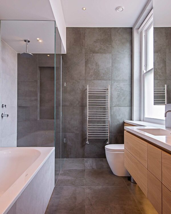 JIS Ashdown Towel radiator in stainless steel lifestyle