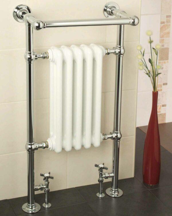 Apollo BJR RAVENNA Plus traditional towel radiator in brass with chrome finish