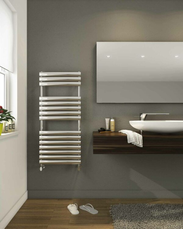 DQ Cove Towel Radiator in Stainless Steel lifestyle