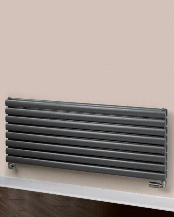 Rads 2 Rails Finsbury Horizontal designer radiator Anthracite detail