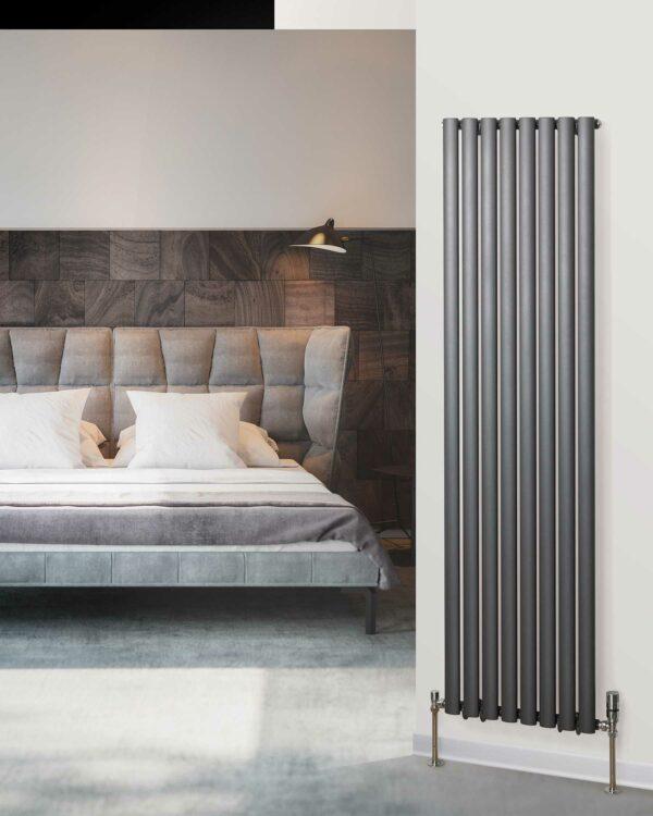 Rads 2 Rails Finsbury Vertical designer radiator Anthracite lifestyle