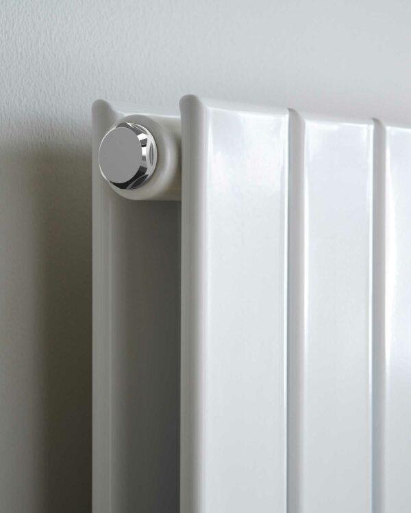 Vogue Fly Line Vertical designer radiator white close up