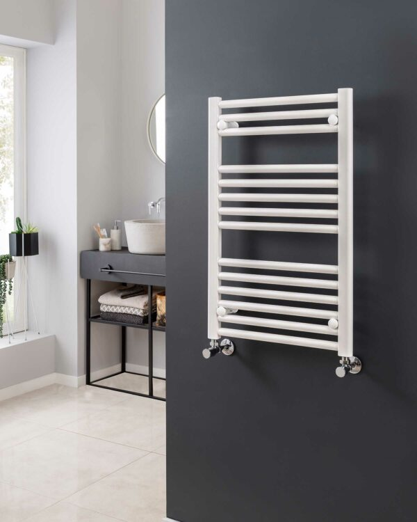Vogue Focus towel radiator, white lifestyle