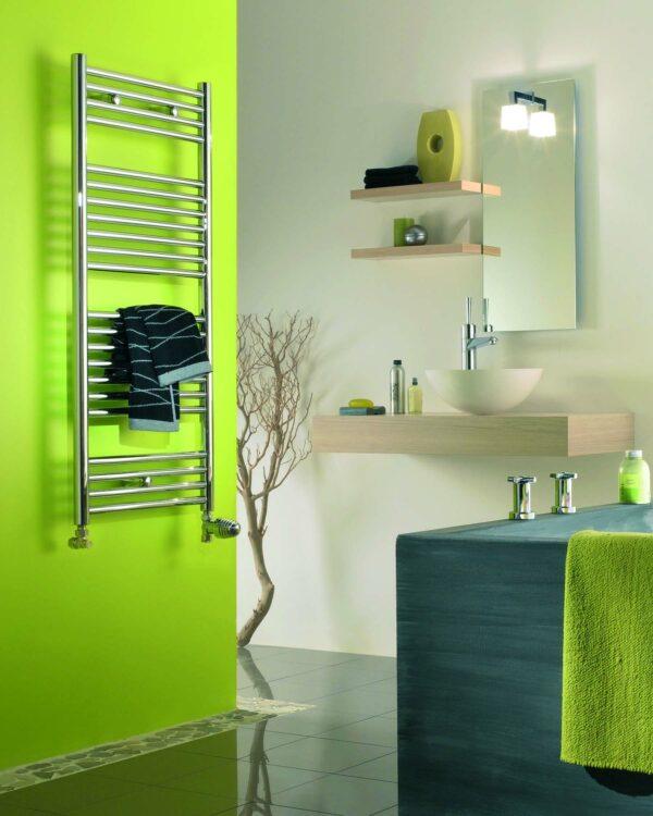 Klaro towel radiator fro Cloakroom product chrome lifestyle