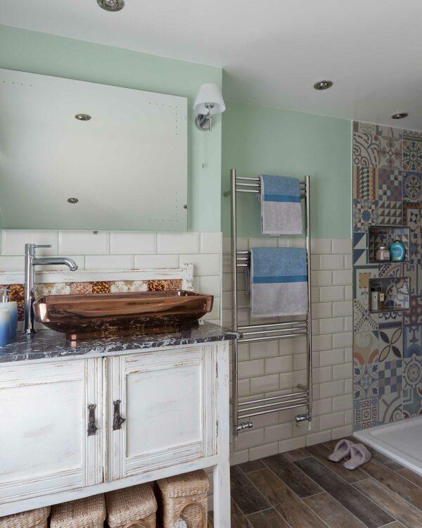 JLS Lewes towel radiator in stainless steel lifestyle