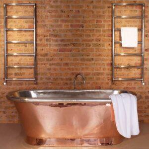 Bisque Pera Towel Radiator Stainless Steel Mirror finish lifestyle