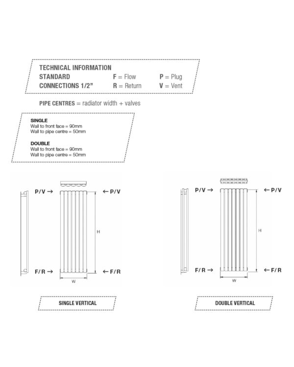 DQ Tao Vertical Radiator, with curved vertical bars technical specification