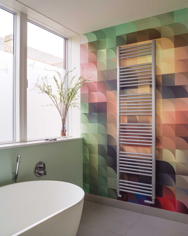 Bisque Deline vertical towel radiator Chrome lifestyle