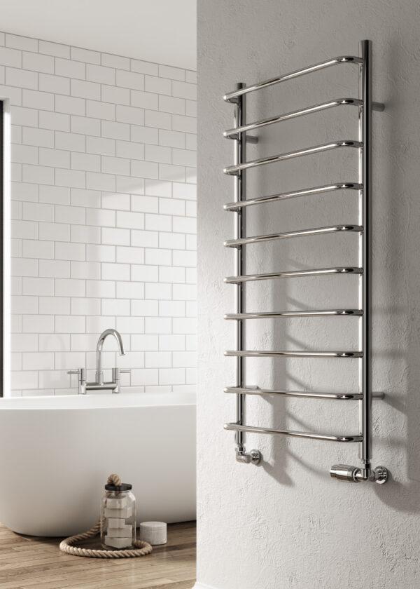 reina aliano towel radiator mild steel polished chrome