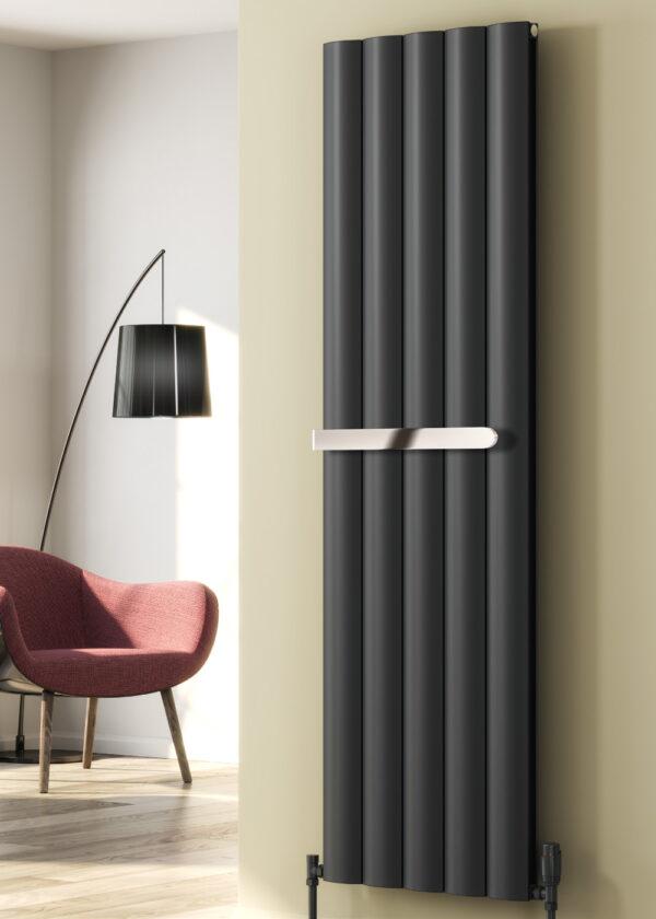 reina belva vertical towel bar chrome anthracite white