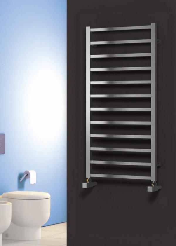 reina arden polished brushed towel rail radiator modern vertical